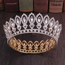 High Fashion Full Round Baroque Gold Blue Crystal Royal Princess Queen Diadem Tiaras Crowns for Bridal Bride Wedding Party