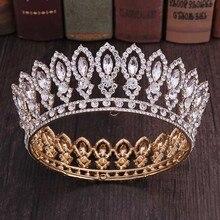 High Fashion Volledige Ronde Barokke Goud Blauw Kristal Koninklijke Prinses Koningin Diadeem Tiara Kronen Voor Bridal Bride Wedding Party