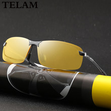 Night vision Polarized Sunglasses anti-glare driving goggles pilot's aluminium alloy yellow Sunglasses Unisex Vision Sun Glass()