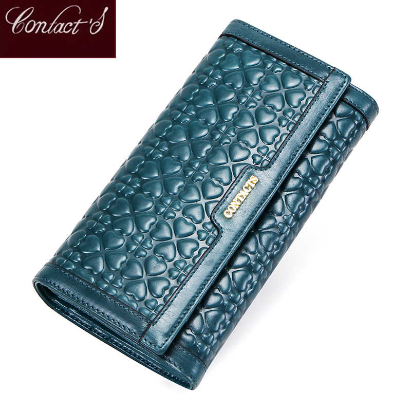 Contact's Genuine Leather Women Clutch Wallet Fashion Female Coin Purse Portemonnee with Phone Pouch Card Holder Money Bags