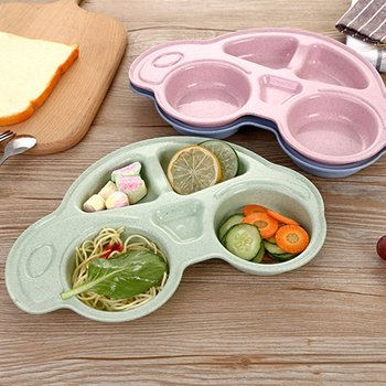 Wheat Straw Lunch Box Nordic Style Non-toxic Bento Boxes Car Children Sub-Grid Plate Food Storage Dinnerware School Lunch Box image