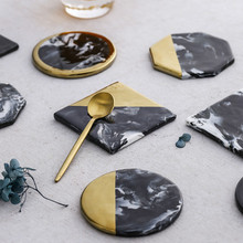 1Pcs Non-slip Ceramic Coasters Mat Round Square Cup Mat Nordic Marble Black Gold Coaster Decoration Accessories Table Mat nordic style lovely pink gold marble pattern coaster ceramic drink coasters cup mat marble decor