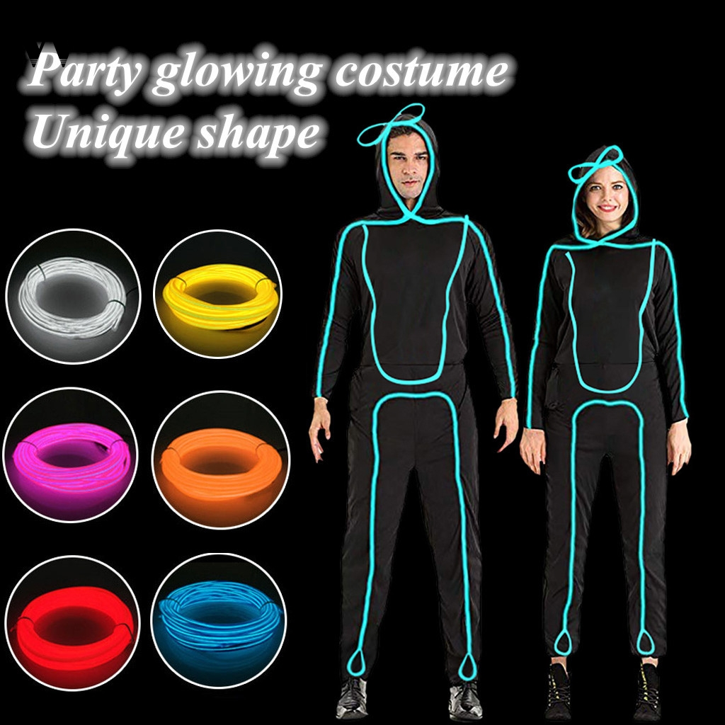 Womail Men Halloween Christmas Suit Nightclub Party LED Costume Light Stickman With Stick Figure Suit Performance Dancewear 930