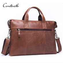 CONTACT #8217 S Business Men Briefcase Genuine Leather Shoulder Bag For Man 13 3 Inch Business Laptop Bag With Flap Pocket Travel Bags cheap Contact'S Cow Leather Single Casual Interior Slot Pocket Interior Zipper Pocket Interior Compartment Computer Interlayer