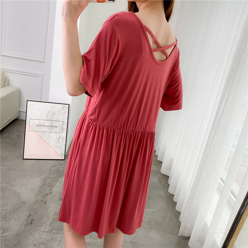Summer Sexy Pajamas Women's Large Size Loose Short Sleeve Modal Nightgown Tracksuit Casual-Outer Wear Fat Mm Thin