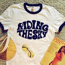 Equitação o tímido vintage gráfico unisex camisa oversize letras soltas t camisa de manga curta harajuku casual 70s 80s tumblr t camisa feminina