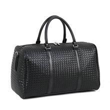 Модная плетеная Дорожная сумка из искусственной кожи с узором