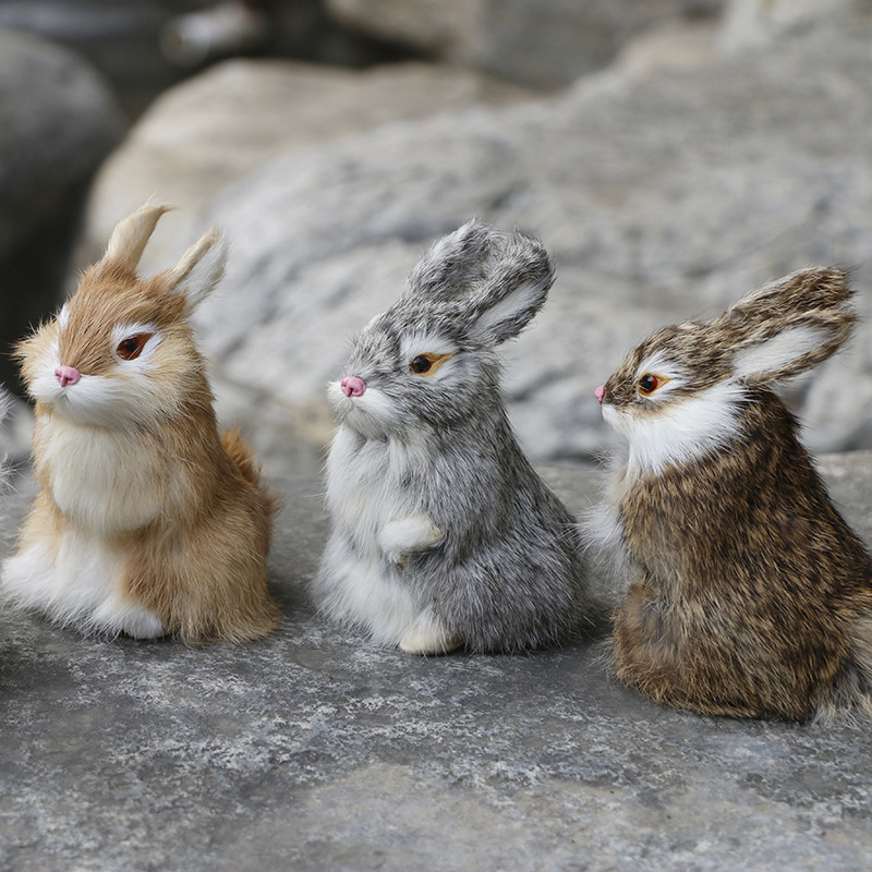 14CM Mini Cute Rabbits/Chicks Plush Toys Fur Lifelike Animal Christmas Bunny Simulation Rabbit Toy Model Birthday Gift