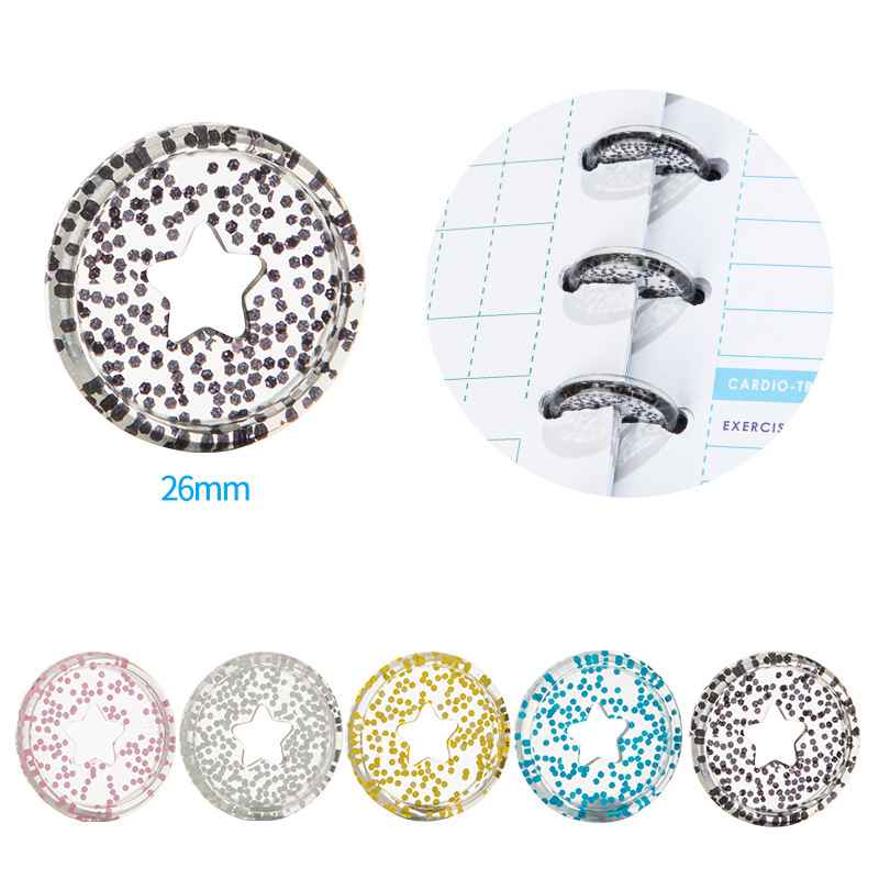 New 12PCS Sequin Binding Rings Buckle Notebook Mushroom Hole Button Loose-Leaf Coil 360 Degree Flip Disc Buckle Binding Discs