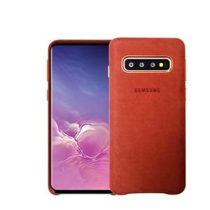 Image 2 - Samsung S10 Case oficjalna oryginalna prawdziwa skóra zamszowa etui samsung s10 plus telefon ochraniacz na drążek skrzyni biegów dla Galaxy S10e S10 + okładka