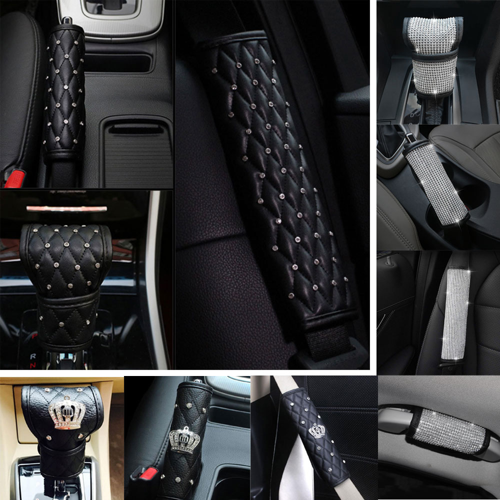 Hot PU Leather Auto Gear Shift Knob Cover With Crystal Bling Bling Rhinestones For Girls Lady Universal Fit Multiple Styles