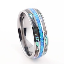 цена Beautiful Women Shell Blue Opal Tungsten carbide ring cool men jewelry 8mm LOVE Alliance wedding Couple rings anniversary gift онлайн в 2017 году