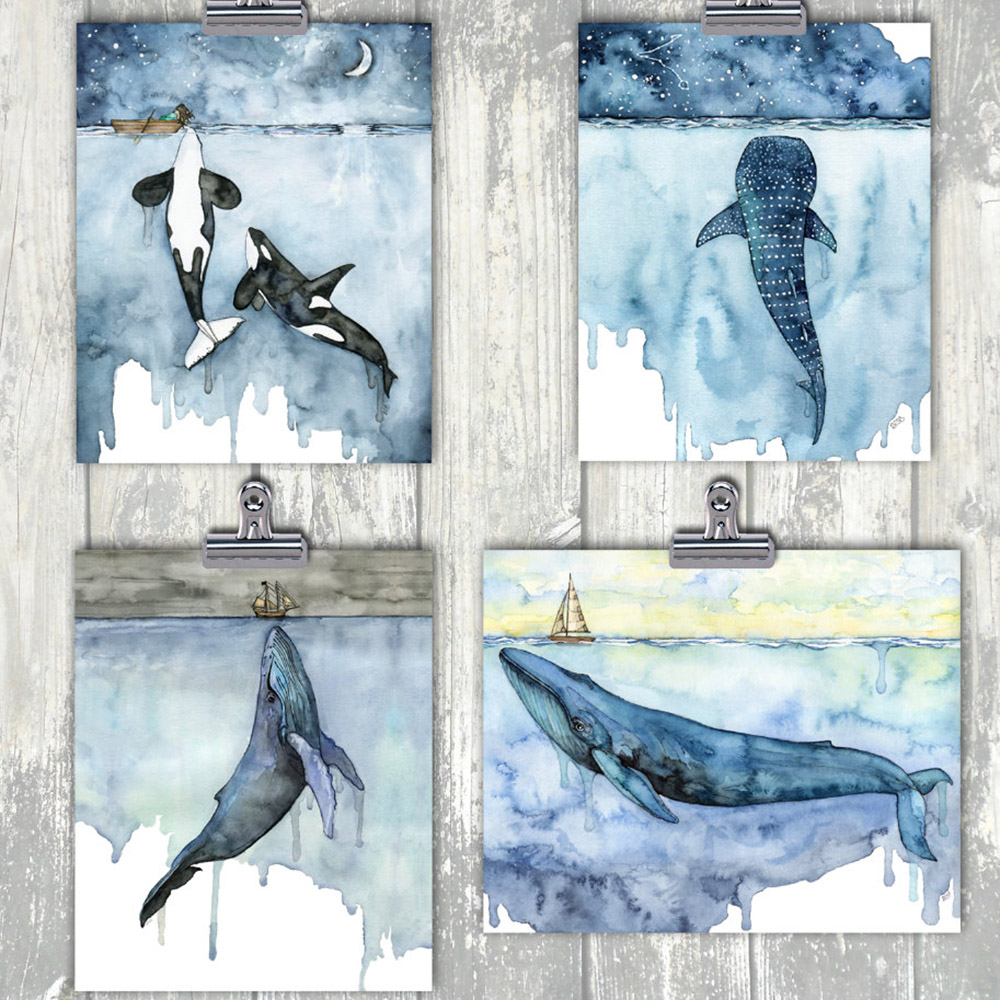 Watercolor Whales Canvas Art Print Painting Poster Wall Decor Orca Art Nursery Cetacea Posters Wall Pictures For Home Decoration