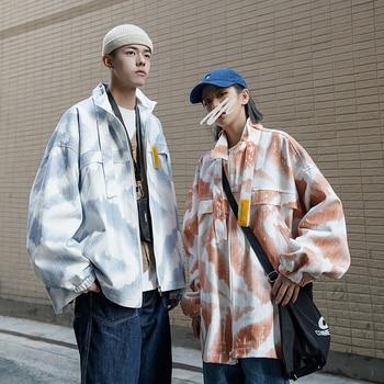 Hip Hop Jacket Men's Fashion Tie-dye Printing Casual Loose Bomber Jacket Men Streetwear Cotton Couple Jacket Mens Outwear S-5XL