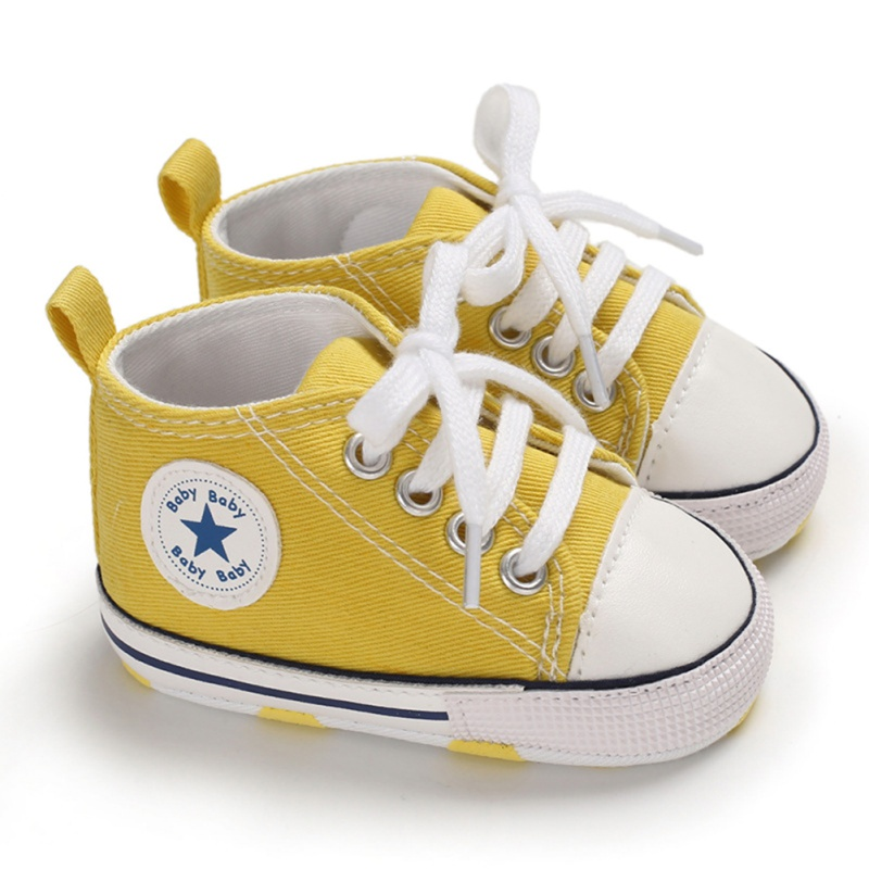 Boy Girl Star Solid Sneaker Cotton Soft Anti-Slip Sole Newborn Infant First Walkers Toddler Casual Canvas Crib Hot Baby Shoes