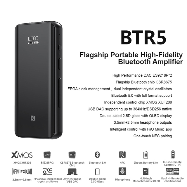 Fiio BTR5 USB DAC Bluetooth 5.0 ES9218P CSR8675 Headphone Amplifier HiRes 3.5mm 2.5mm Balanced AAC/SBC/aptX/aptX LL/aptX H/LDAC 2