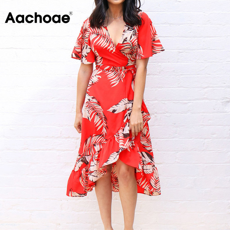 Women Floral Print Long Dress Boho Style Summer Beach Dress Short Sleeve Elegant Dress Sundress Vestidos