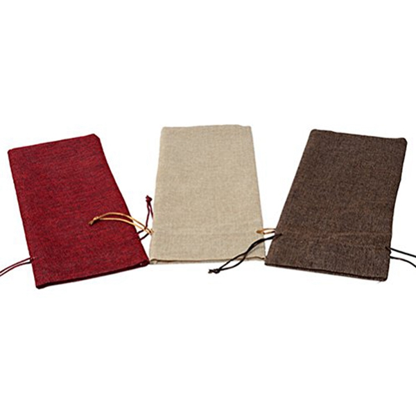 Hot Sale Linen Burlap Wine Bags  3PCS Bottle Bags with Drawstrings for Party Wedding Favor   6in x13.4in (3 Pack)|Wine Bottle Covers| |  - title=