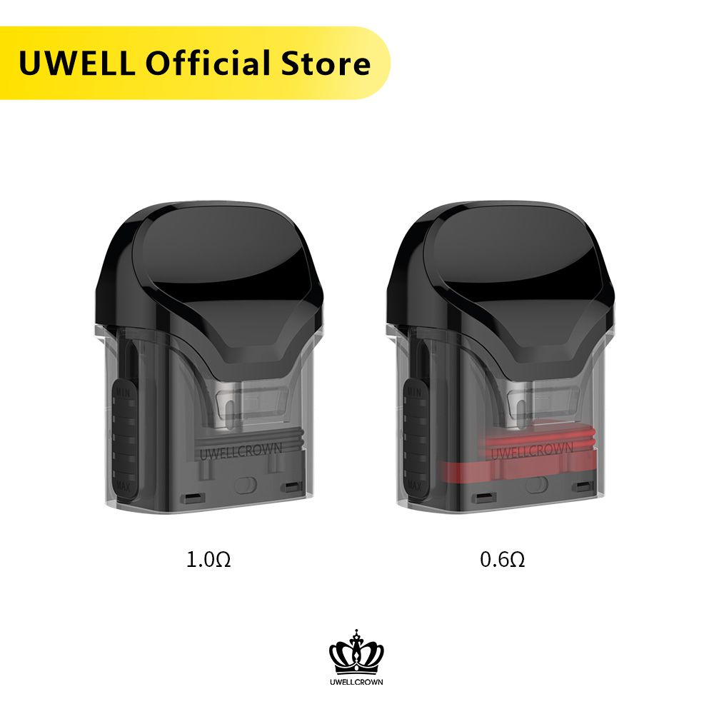 5 Packs UWELL Crown Refillable Pod  3ml Capacity Suitable For Crown Pod System Vape Pod E-cigarette Vaporizer
