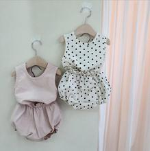 2020 Korea Style Babys Girls 2 Pcs Set Vest+PP Shorts Summer Cotton Fashion Babys Suits 6-24 month QH257 cheap SOIFORM O-Neck Sets Pullover Sleeveless REGULAR Fits true to size take your normal size Print Children