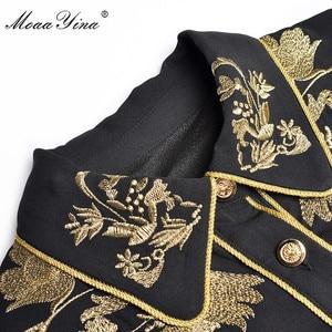 Image 4 - MoaaYina Fashion Designer Runway dress Spring Summer Women Dress Long sleeve luxurious Gold Line Embroidery Black Dresses