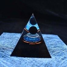 Handmade Orgonite Pyramid 60mm Obsidian Crystal Sphere With Energy Copper Circle PTSD Orgone Accumulator Orgone