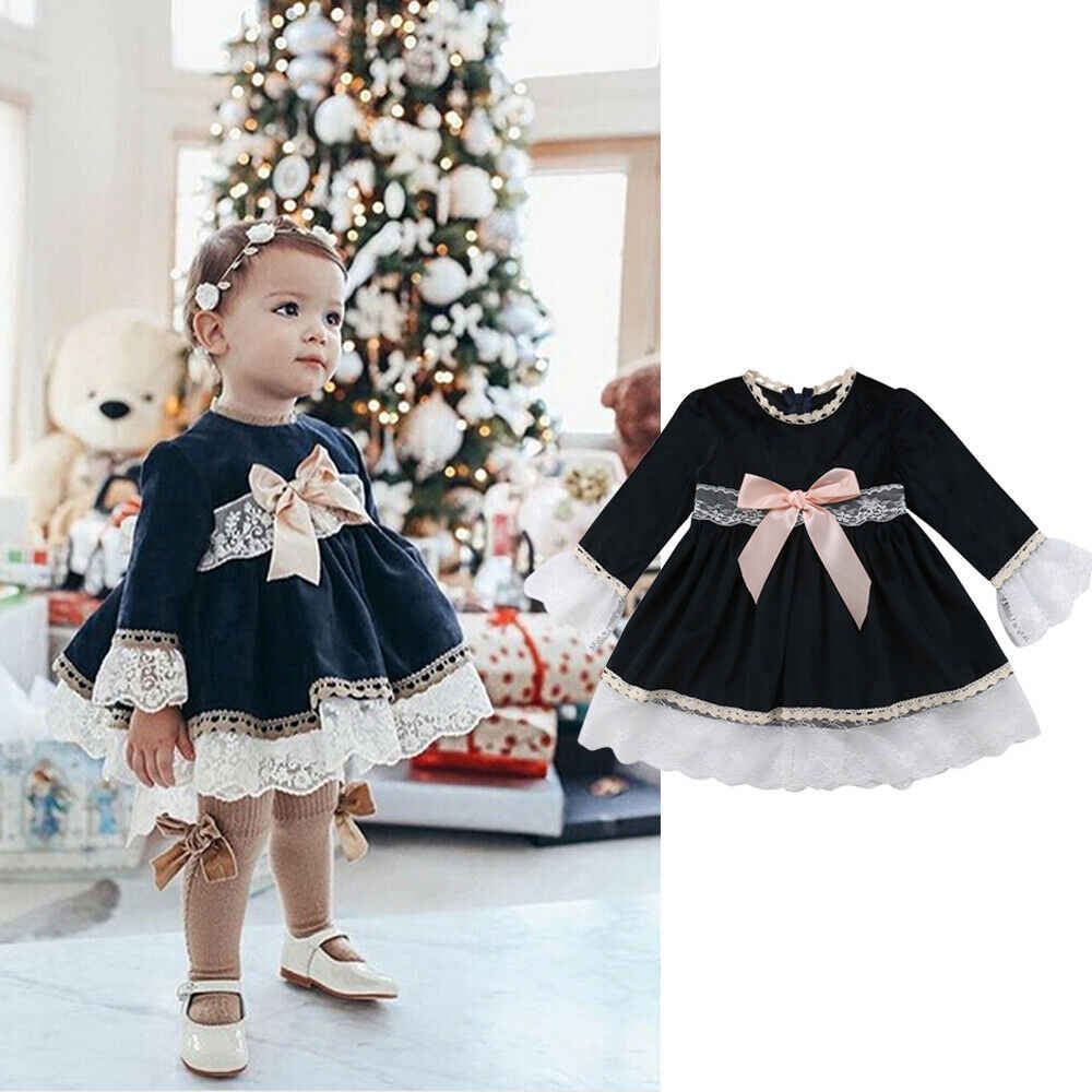 1-6Y toddler baby girl dress long sleeve lace bow tutu party princess dress wedding birthday formal dress festival girl dress