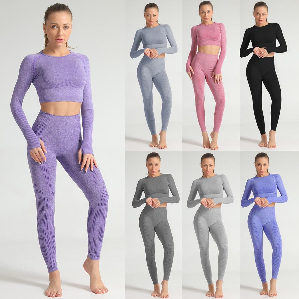 CHAMSGEND, бесшовная одежда для спортзала, Женский комплект для спортзала, йоги, комплекты для фитнеса, комплекты одежды для йоги для женщин, спо...