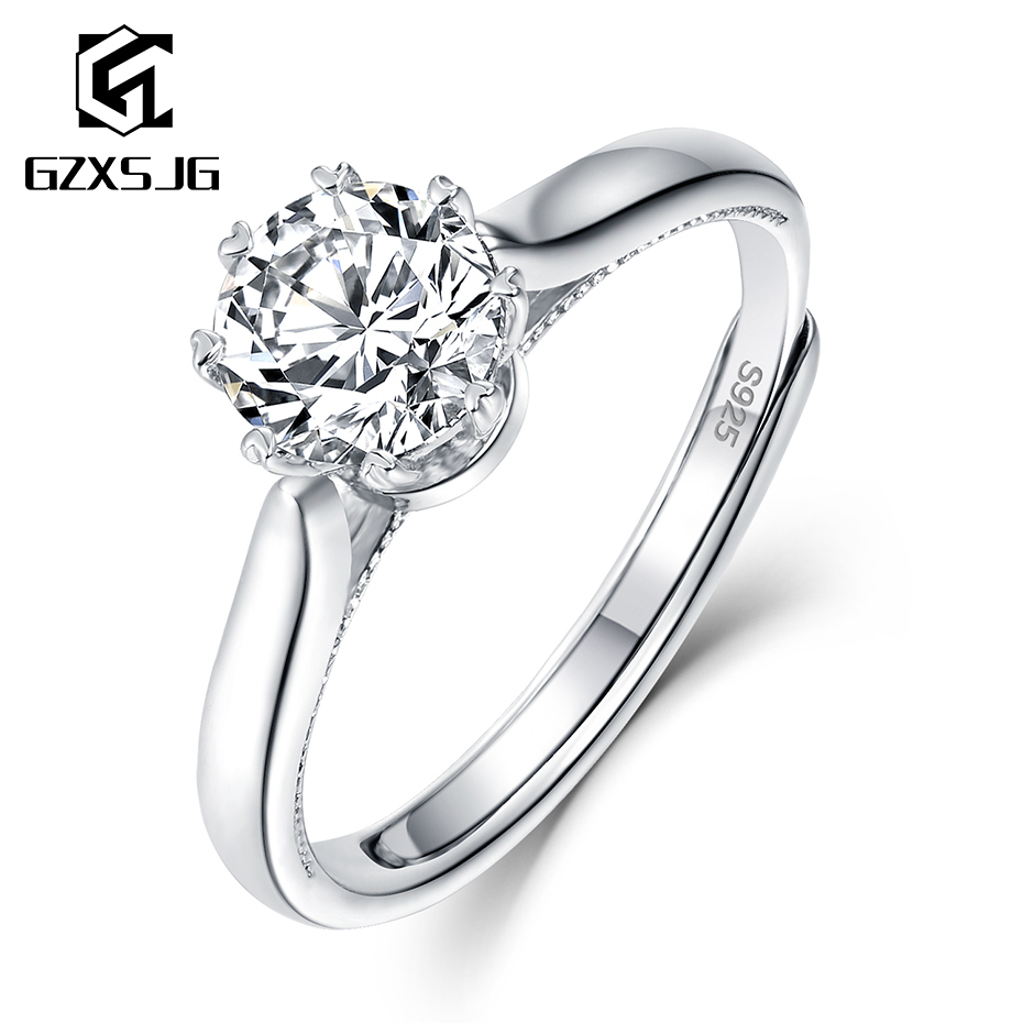 GZXSJG 1ct Moissanite Rings For Women 925 Sterling Silver Ring D Color Moissanite Ring For Wedding Bride Engagement Fine Jewelry