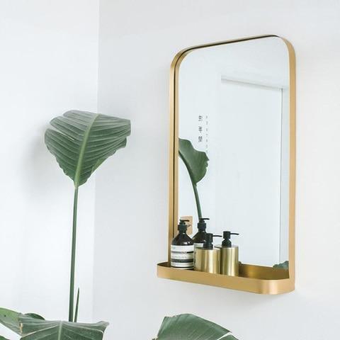 Nordic banheiro espelho de parede casa quarto vesti rio armazenamento espelho de maquiagem banheiro ferrugem