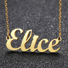 Necklace Personalized Nameplate-Pendant Custom Name Gold-Color Silver Women Vnox