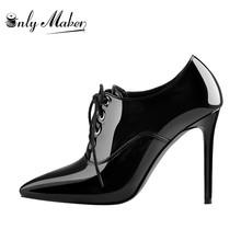 Sole-Boots Onlymaker Lace-Up Pointed-Toe High-Heel Black Women's Patent Stiletto 10CM