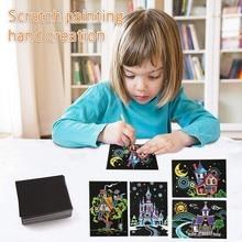 Postcards Scratch for Children Creation Kids Craft Magic Cartoon 4pcs