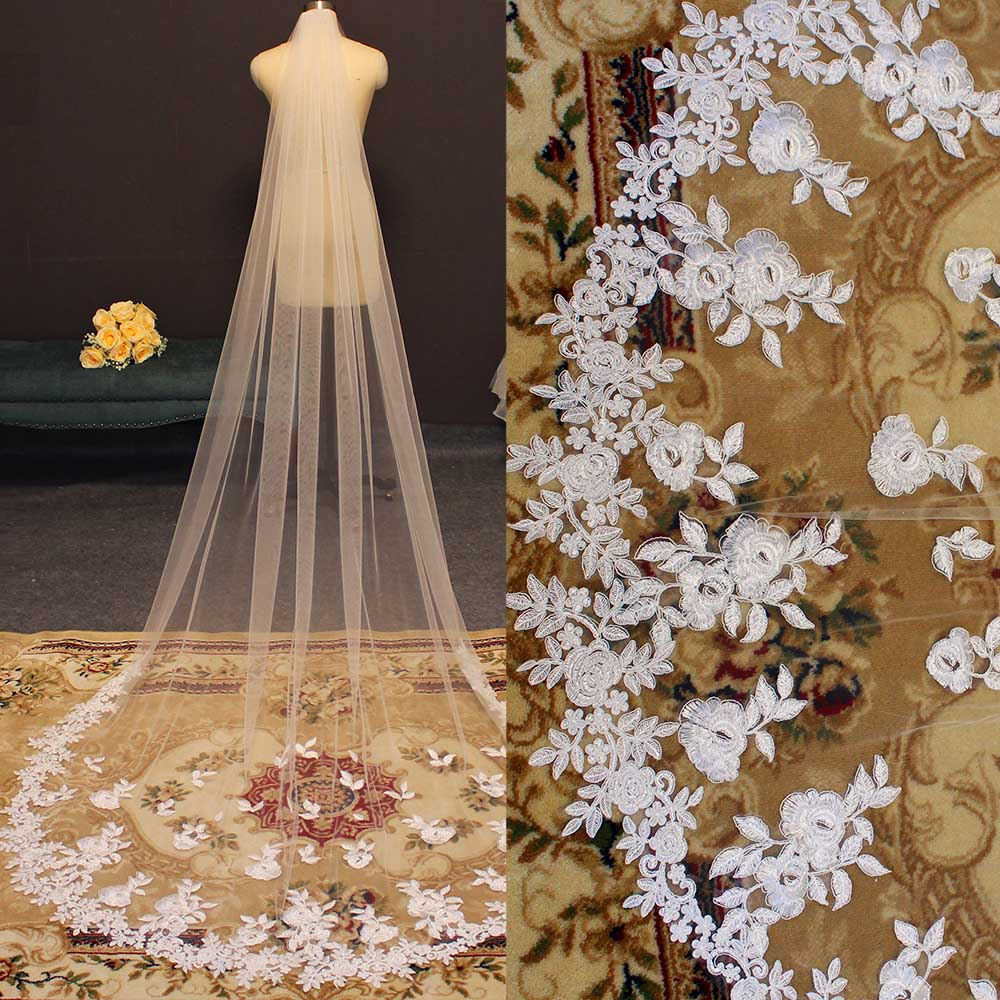 Beautiful High Quality Long Lace Wedding Veil Soft Tulle Bridal Veil With Comb White Ivory One Layer Veil Bride Accessories
