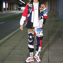 الهيب هوب الحركة البدلة ذكر مجموعة بدلات رياضية مخملية Sweatsuit رجل رياضية رجالي مجموعة بانت زيبر أبلى 2 قطعة سترة + السراويل مجموعات ربيع 2020