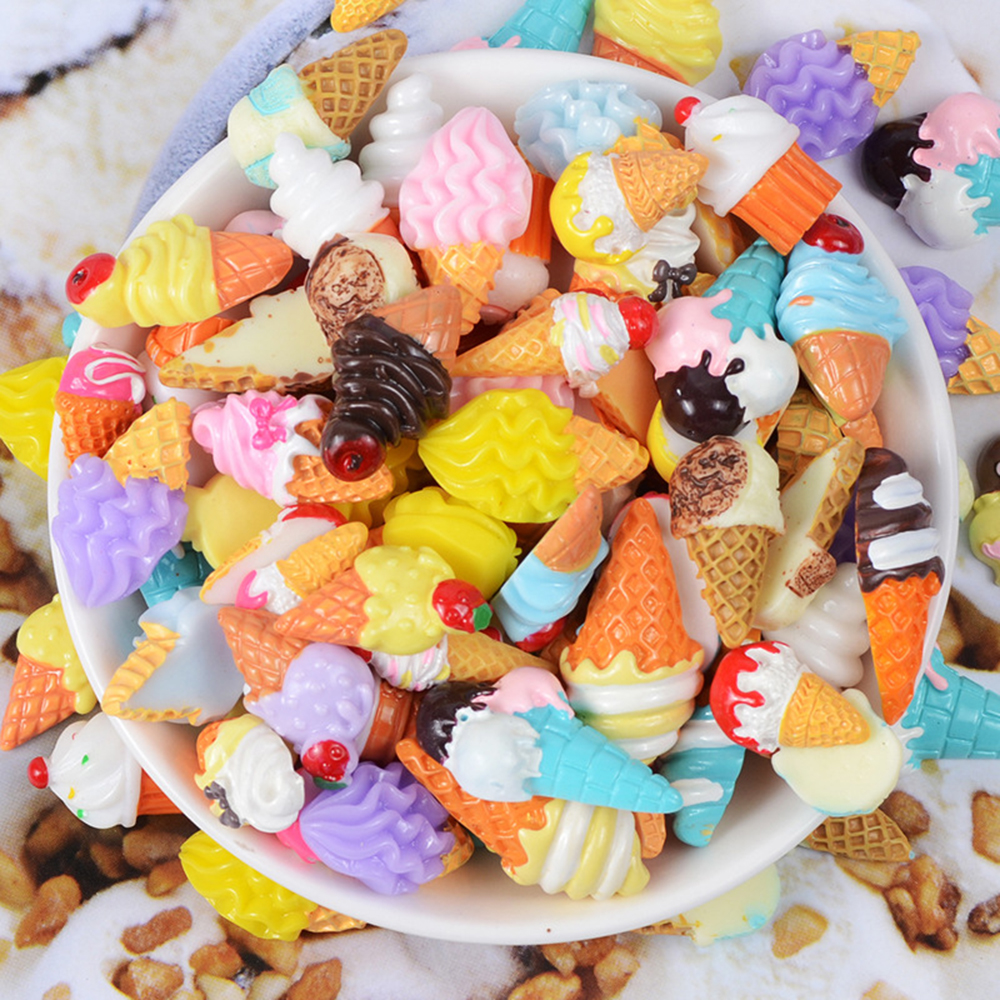 10 Pcs lot Resin Ice Cream Charms for Slime Filler Stress Relief DIY Polymer Addition Slime Accessories Toy Model Tool in Modeling Clay from Toys Hobbies