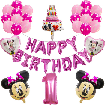 27pcs Mickey Minnie Mouse Foil Balloon Number Latex Balloons baby 1 2 3 4 5 6 7 8 9st Birthday Party Decoration Kids Toy Globos