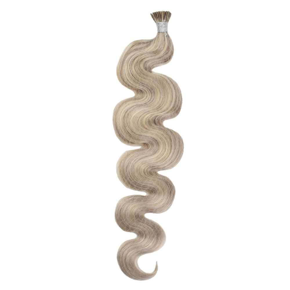 Moresoo I Tip Human Hair Extensions Keratin Human Hair Machine Remy Human Hair Body Wave Pre-bonded Hair 50G/50S/Pack