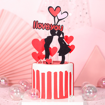 Cakelove Wedding Cupcake Topper Set Love Heart Sweet Lovers Cake for Anniversary Valentines Day Party Gifts
