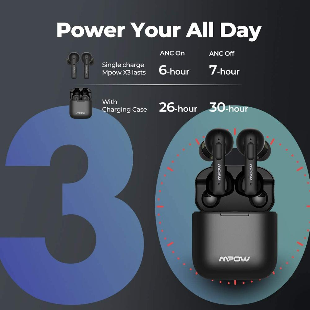 cheapest Mpow X3 ANC True Wireless Earphones Active Noise Cancelling Bluetooth 5 0 In-Ear Mini Earbuds with Touch Control 30-Hrs Playback