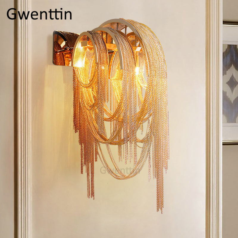 Luxury Aluminum Chain Wall Lamps Tassel LED Wall Sconce Light Fixtures for Living Room Bedroom Stairs Hotel Lamp Home Art Deco