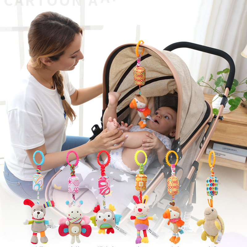 0-12 Months Baby Rattles Animal Cartoon Plush Music Hanging Mobile To Bed Stroller Toy Soft Cute Infant Newborn Bed Hanging Toy
