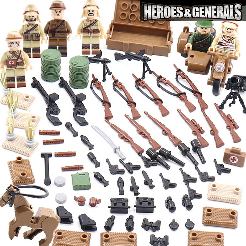 6PCS LegoINGlys Military Army World War 2 WW2 Japanese Soldier Minifigure Weapon Gun Building Blocks Bricks Toys Children Gifts