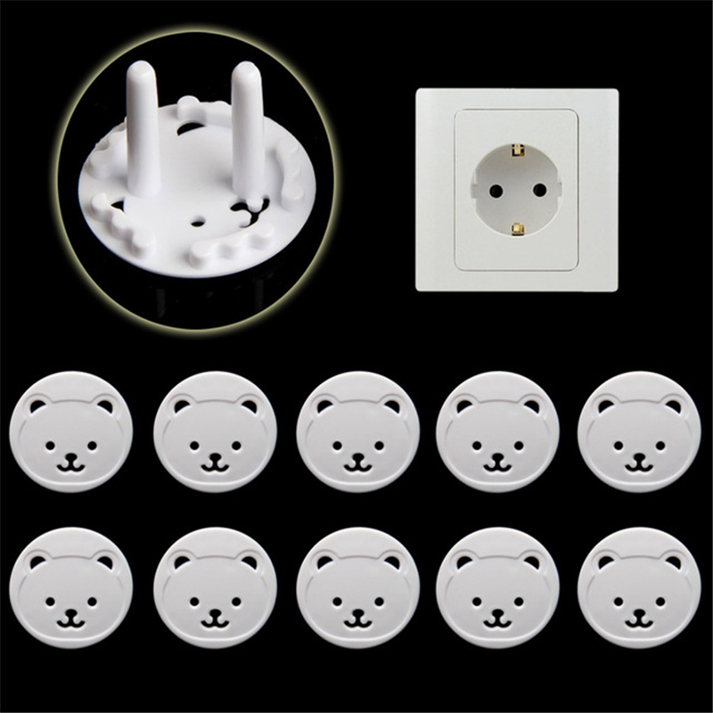10pcs Protection Security Child Electric Socket Outlet Plug Two Phase Safe Lock Cover Baby Kids Safety Sockets Cover Plugs Kid