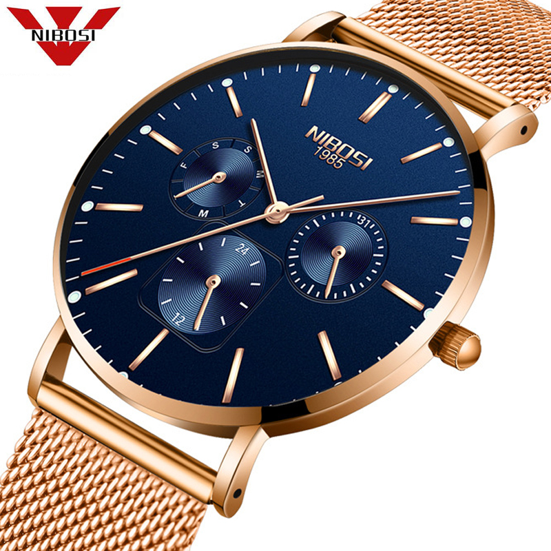 Relogio Masculino 2019 NIBOSI Mens Watches To Luxury Brand Business Steel Analog Quartz Watch Casual Waterproof Male Wristwatch