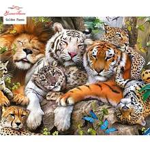 "Full Square Diamond 5D DIY Diamond Painting ""Tiger Lion Leopard\"" Embroidery Cross Stitch Rhinestone Mosaic Painting Decor Gift(China)"