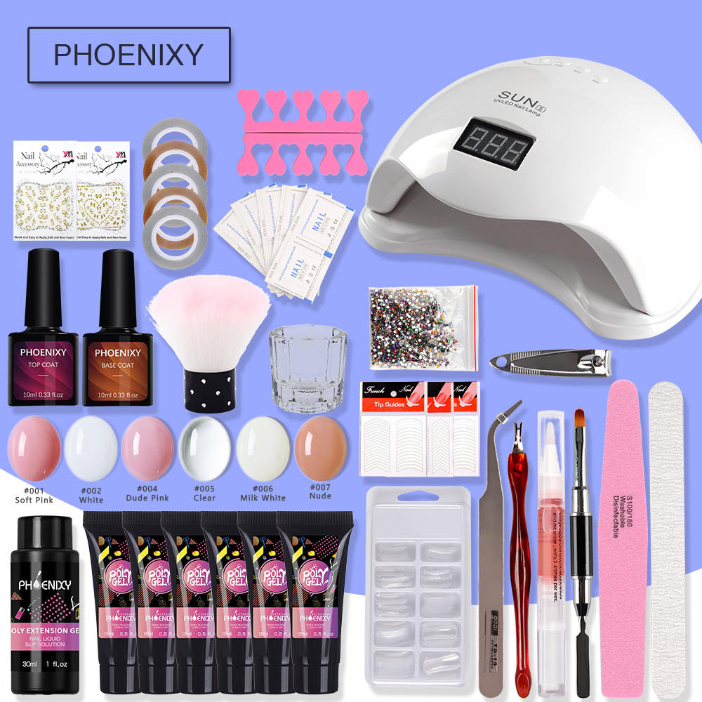 Nail Kit Polygel Nail Set With 48w LED Lamp Nail Polish Set Quick Building Nail Extensions Hard Jelly Gel Polygel Manicure Set