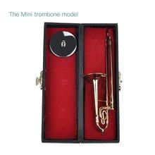 TSAI мини-тромбон с подставкой база Музыкальные инструменты тонкой позолоченный ремесло миниатюрный тромбон украшение дома орнамент