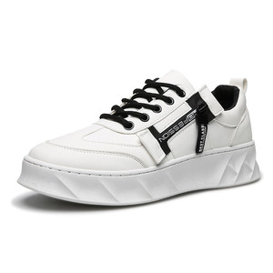 Image 3 - 2019 Men Shoes Pu Leather Solid Trainers Shoes Breathable Lace Up White Shoes Men Zapatillas Hombre Casual Shoes Men