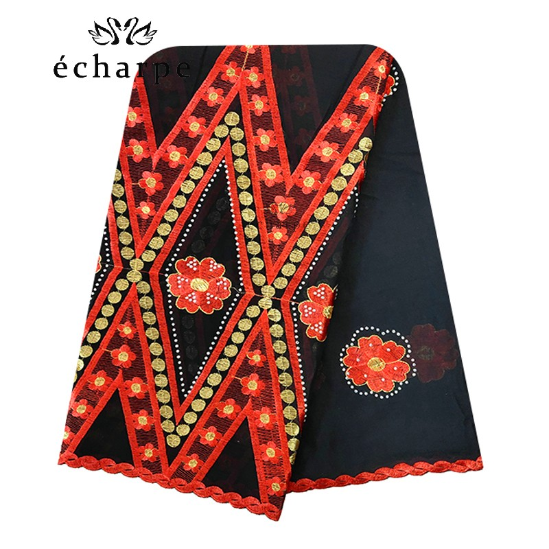 100% Cotton Scarf African Women Big Scarfs Muslim Women Embroidery Hijab Scarf Twill Design Headscarf EC123